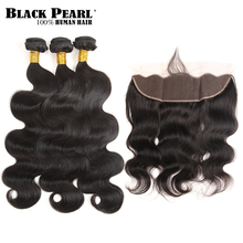 Black Pearl Pre-Colored Remy Human Hair Bundles with Closure Brazilian Body Wave 13×4 Lace Frontal Closure 3 Bundles Hair Weave