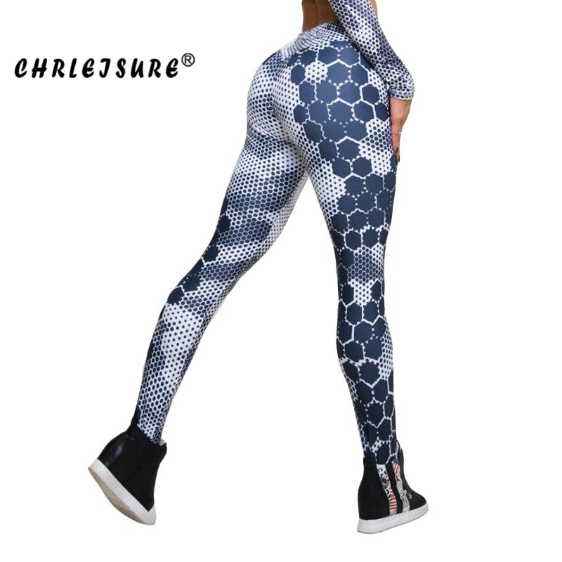 CHRLEISURE Women Leggings Honeycomb Print Fitness Fashion  Sexy Hip Christmas Jegging Women Regular Splicing Legging Push Up