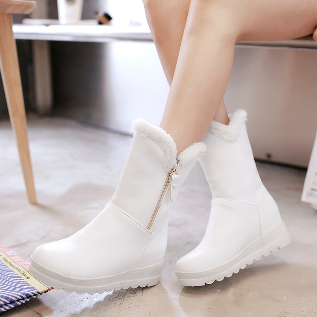 New women winter boots shoes leather flat platform snow boots women round toe winter shoes girls plush white black boots 2017