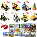 10boxes/set Military series minifigures with engineer car  racing Patrol vechile Building  Blocks Sets Toys Compatible block
