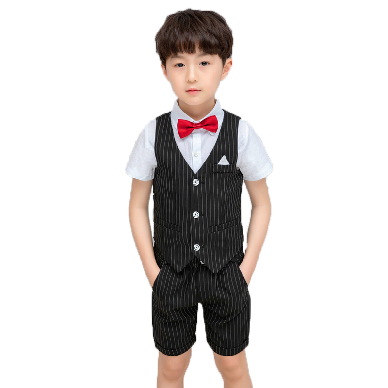 95f0093c9d20c High Quality Boys Summer Formal Suit Hawaii Vest+Shorts Children Wedding  Party Clothing Set School Kid Graduation Tuxedo Costume