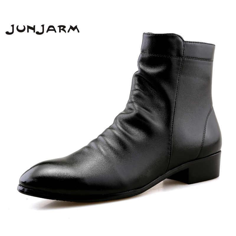 b1b90ef1fdd4 JUNJARM Fashion Men Ankle Boots Soft Leather Men Boots Men Waterproof Warm Shoes  Black Comfortable Men