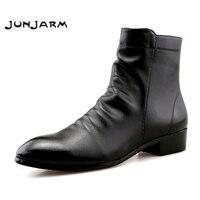 JUNJARM Fashion Men Ankle Boots Soft Leather Men Boots Men Waterproof Warm Shoes Black Comfortable Men Footwear