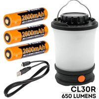 Fenix CL30R 650 lumen USB rechargeable camping lantern / work light with 3 X 18650 rechargeable batteries and charger cable