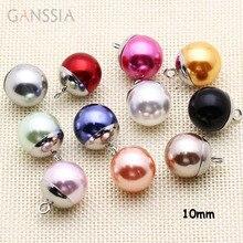 10 шт./лот Размер: 10 мм многоцветные полимерные жемчужные металлические пуговицы для DIY одежды кнопки для украшения шитья(ss-134