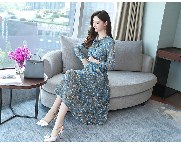 2019 Autumn Winter Vintage Chiffon Floral Midi Dress Plus Size Maxi Boho Dresses Elegant Women Party Long Sleeve Dress Vestidos 74