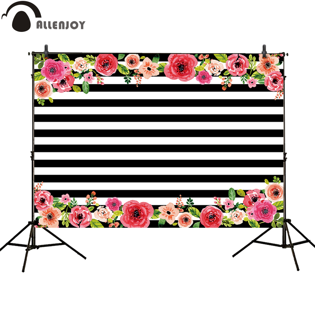 Allenjoy photo background black and white stripes flower wedding party new backdrops newborn photo studio photocall backgrounds