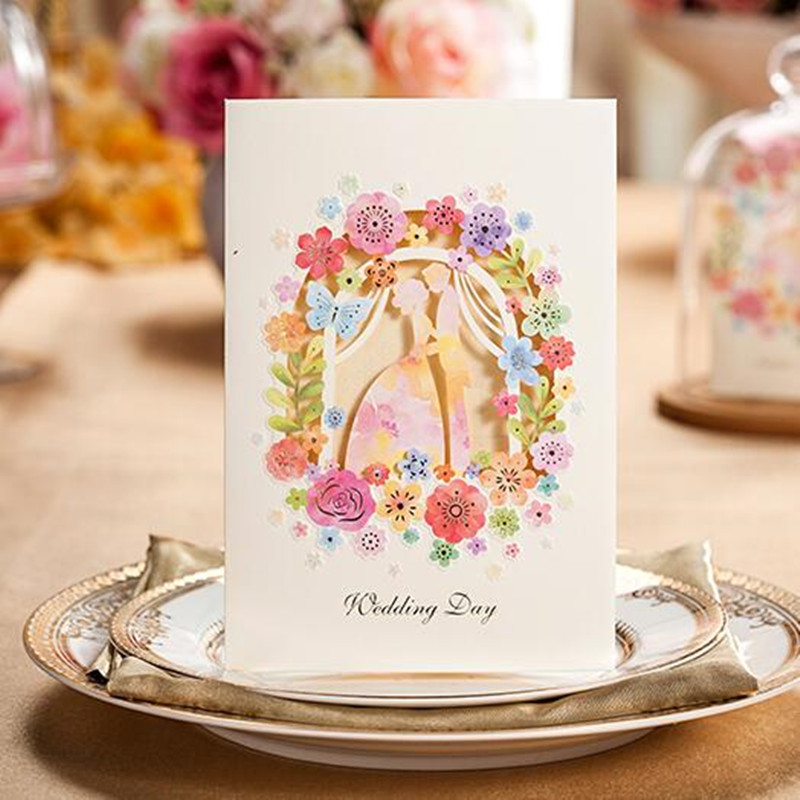 Romantic Inviting Card Elegant Laser Cut White Pink Event Party Supplies Decoration Lover Flower Paper Wedding Invitation
