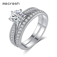 Mecresh Classic 925 Sterling Silver Engagement Ring Set For Women Two Band Stackable CZ Anel Fashion