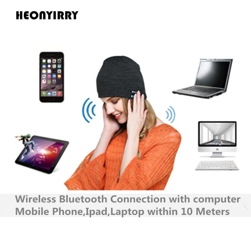 New Fashion Beanie Hat Cap Wireless Bluetooth Earphone Smart Headset headphone Speaker Mic Winter Outdoor Sport Stereo Music Hat edt bluetooth music beanie hat soft warm cap with stereo headphone headset speaker