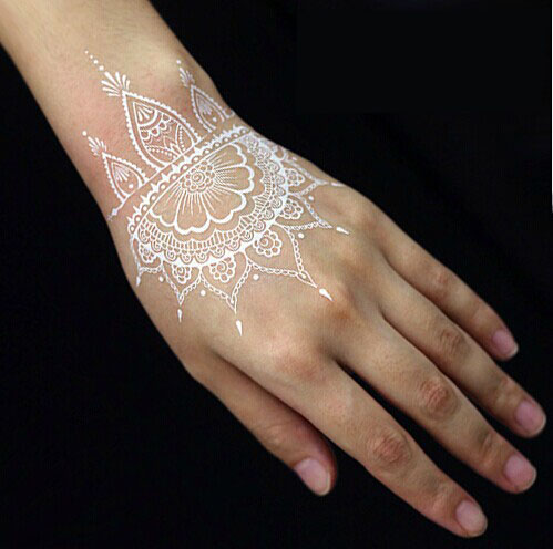 070 1 Wit Kleur India Henna Stijl Lady Hand Tijdelijke Tattoo Seal