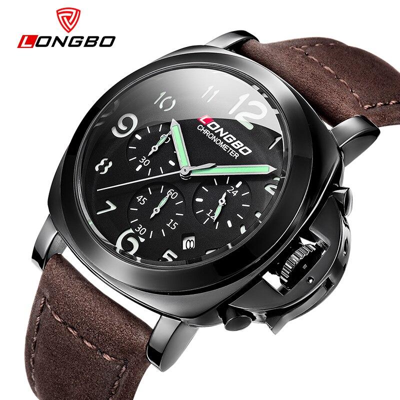 Longbo Chronograph Casual Watch Men Luxury Brand Quartz Military Sport Watch Genuine Leather Men's Wristwatch Relogio Masculino