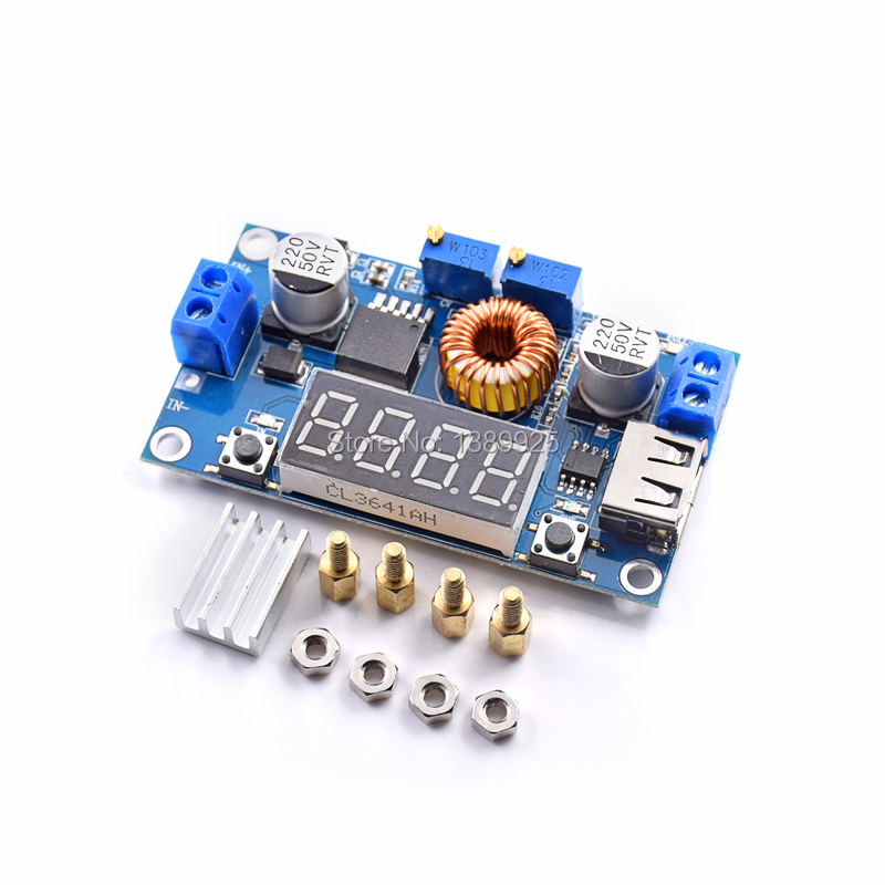 5PCS Adjustable 5A CC/CV Power Step-down Charge Module LED Driver USB Voltmeter Ammeter Voltage Regulator