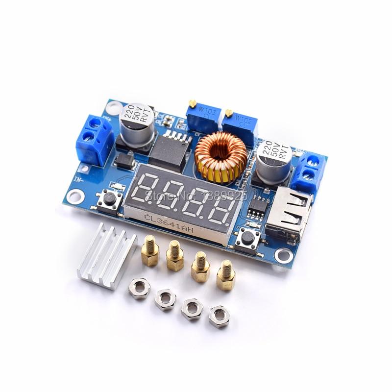 5PCS Adjustable 5A CC/CV Power Step-down Charge Module LED Driver USB Voltmeter Ammeter Voltage Regulator