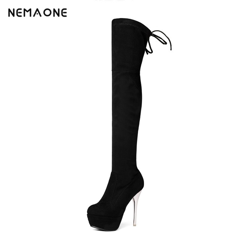 все цены на NEMAONE Plus size 34-43 women boots over the knee boots women sexy thin high heels long boots dancing boots platform shoes woman