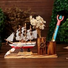 Decorative Office Product Sailboat Pen Holder Wooden Vase