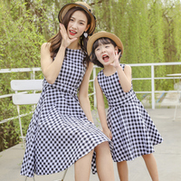 mommy and me clothes dresses 2019 fashion mom and daughter matching clothes matching family outfits Plaid Bow dress family look