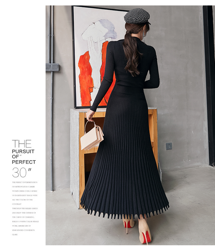 2019 Autumn Winter High Quality Long Knitted Dress Women Black Fashion Stand Collar Slim Thicken Warm Sweater Pleated Dress 83