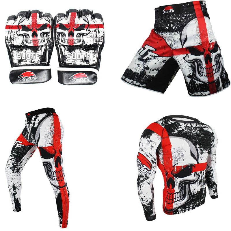 MMA Compression Jersey & Pants & Shorts & Gloves Compression Pants Rashguard Fitness Long Sleeves Base Men