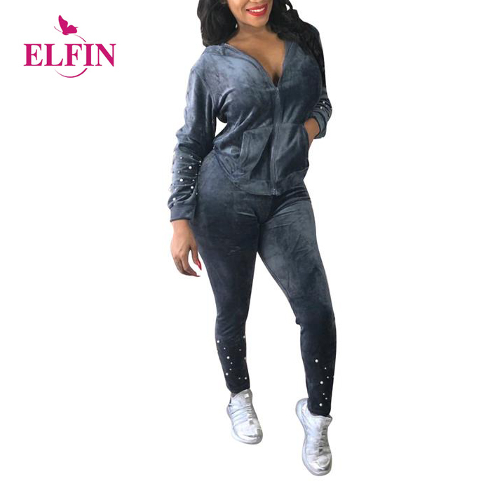 Sport Velvet Tracksuit Women 2 Piece Suit Top And Pants Pockets Hooded Hoodies Zipper Casual Suit 2pcs Sportswear SJ914R