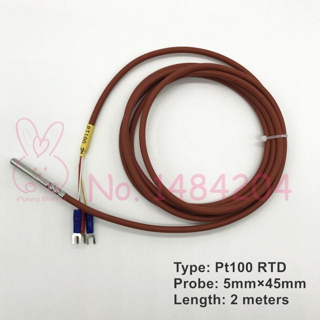 1x PT100 Temperature Sensor 5mm*45mm RTD Probe 3 Wire 2m Silicone ...