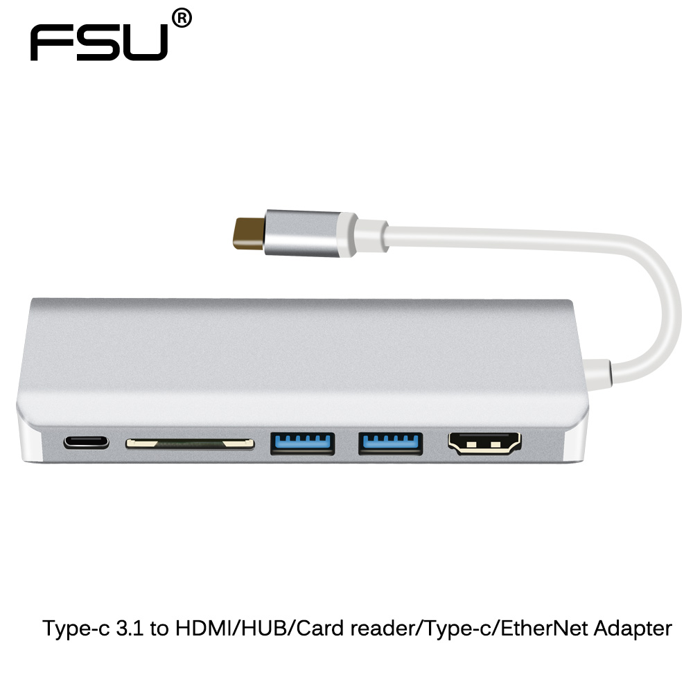FSU Type-c 3.1 to HDMI/Card Reader/HUB/Type-c/EtherNet Adapter for HDTV Computer Camera Internet support 4k 10GbpsFSU Type-c 3.1 to HDMI/Card Reader/HUB/Type-c/EtherNet Adapter for HDTV Computer Camera Internet support 4k 10Gbps