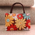 Fancy flower handbag double pockets women bags top handle bags tote bag girl gift