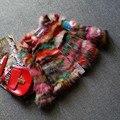 Colorido Multi 100% genuino de piel de mapache abrigos y chaquetas para mujeres de la muchacha delgada del diseño corto fur coat christamas envío gratis