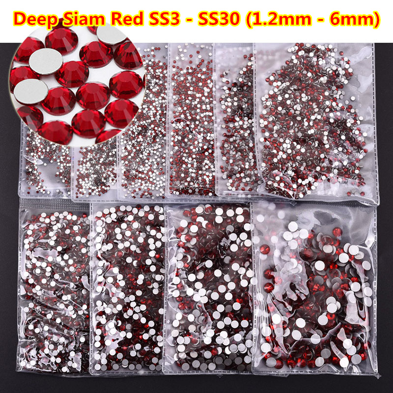 1440pcs ss3-ss30 All Sizes Siam Red Nail Cristal swarvsoki Rhinestones Non HotFix Strass Flatback Round Stone 3D Nails Jewelry
