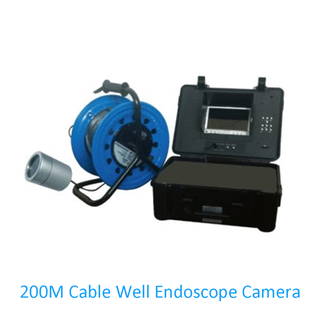 Factory price Well pipe system Underwater Endoscope Camera 200M Cable Fishing Camera Industrial inspection infrared LED
