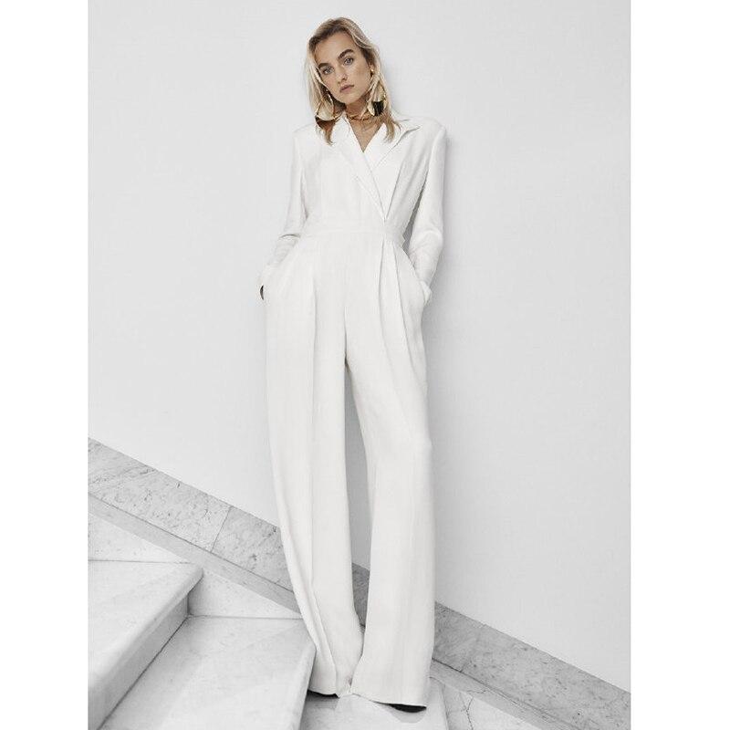 One piece ชุด overalls สำหรับผู้หญิงฤดูใบไม้ร่วง jumpsuit elegant สีขาว jumpsuit notched collar แขนยาวอย่างเป็นทางการ jumpsuit-ใน จั๊มพ์สูท จาก เสื้อผ้าสตรี บน   1