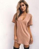 Menbone alta calidad colores del caramelo de la camiseta mujeres moda V cuello suelta sexy estilo largo camiseta mujer Harajuku verano Camisetas y tops