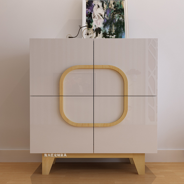 Creative Nordic Sideboard Round Square Living Room Sideboard Cabinet  Storage Cabinets Japanese White Shoe Storage Cabinet