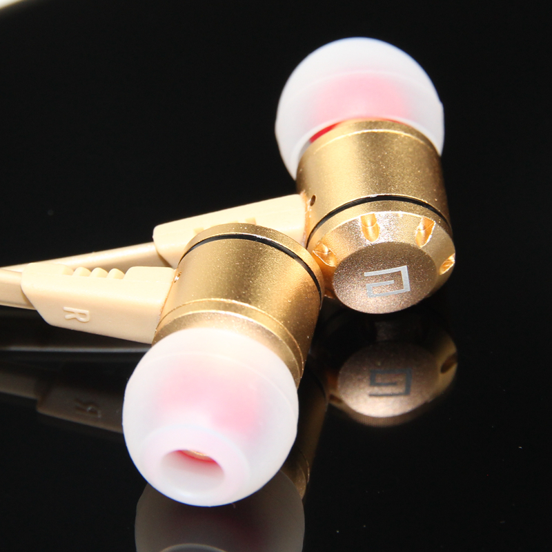 Clearance Sale Langsdom M410 Golden Metal Earphone In-ear Headset with MicrophoneTangle-free Earphones for Phone fone de ouvido ufo pro metal in ear earphones treadmill female drug sing karaoke audio headset diy mobile phone