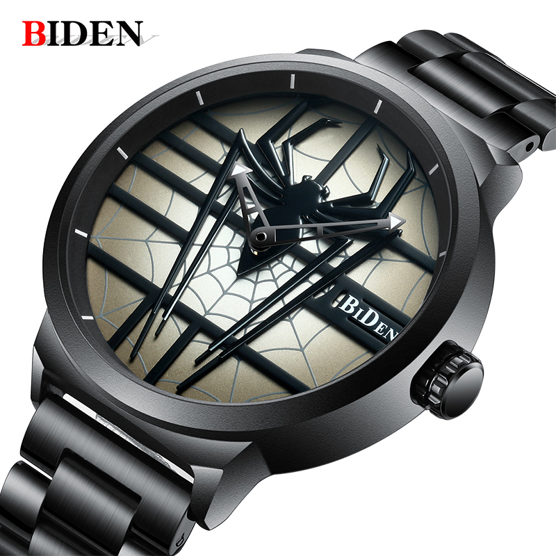 BIDEN Top Mens Watches New spider Watch Men Military Sports Watch Waterproof Stainless Steel Gold Quartz Clock Relogio MasculinoBIDEN Top Mens Watches New spider Watch Men Military Sports Watch Waterproof Stainless Steel Gold Quartz Clock Relogio Masculino