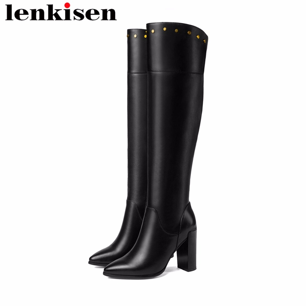 Lenkisen black white color pointed toe solid super high heels cow leather zipper movie stars women fashion knee-high boots L45