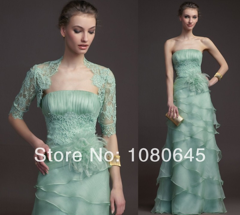 Mint Green Lace Feather Ruffles Organza Long Evening Gowns Mother Bride Dress Jacket Sleeves S119 - chloebridal store
