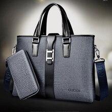 High quality leather office bags for men dress business portfolio men's leather briefcase man handbag laptop shoulder bag B00029