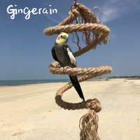 Gingerain L:156cm diameter 2cm middle Bird Perch Toy Spiral rope made of hemp Parrot Swing Climbing Standing Toys