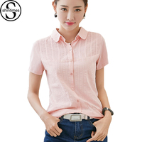 White Shirt Womens Tops 2017 Peter Pan Collar Women Blouses Cotton Ladies Office Shirts Embroidery Pink