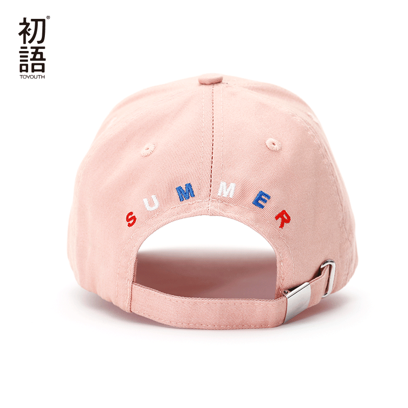 Toyouth Baseball Cap Women Casual Letter Embroidery All Match Adjustable Sun Hat Pink Color 4