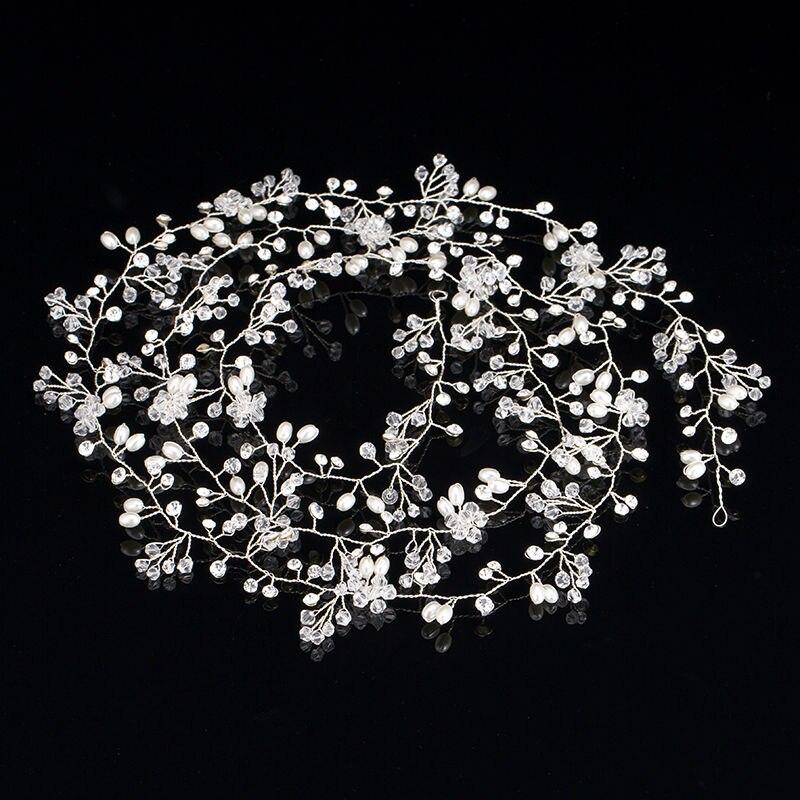 Prix pour 1 PCS Strass Imitation Perle Cristal Diadème De Mariage À La Main Bijoux Accessoires Headcomb Or De Mariée Longue Peigne 2017 Nouveau