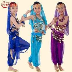 Детский костюм для танца живота, костюмы для детей, костюмы для танца живота для девочек, индийский комплект одежды для выступлений, 6 цветов