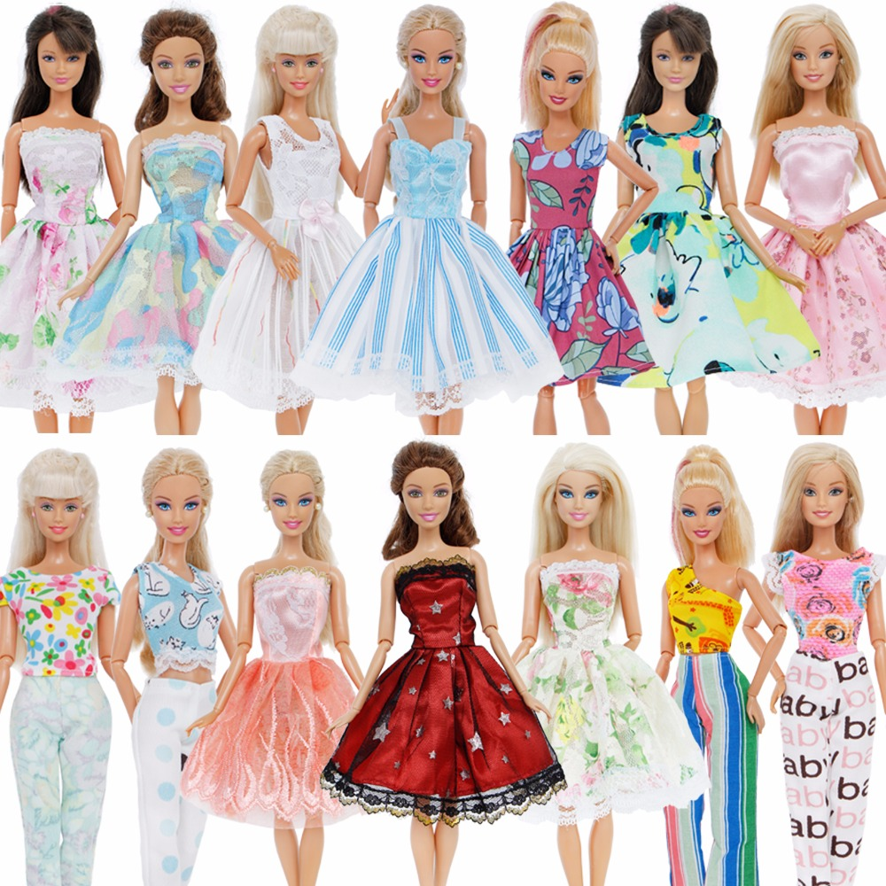 Fashion Handmade 5x Outfits Mixed Style Beautiful Princess Dresses Flower Pattern Skirt Clothes For Barbie Doll Accessories ToysFashion Handmade 5x Outfits Mixed Style Beautiful Princess Dresses Flower Pattern Skirt Clothes For Barbie Doll Accessories Toys