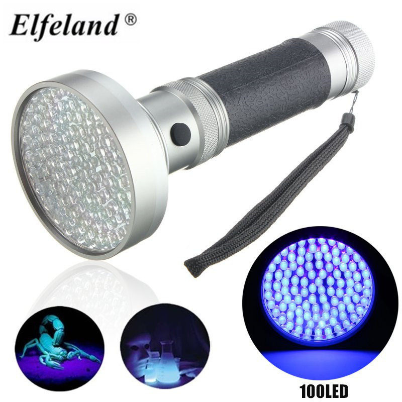 High Quality Super Bright UV Flashlight 100Leds Flashlight <font><b>Light</b></font> Torch Blacklight Ultra Violet Lamp For Marker Check Detection