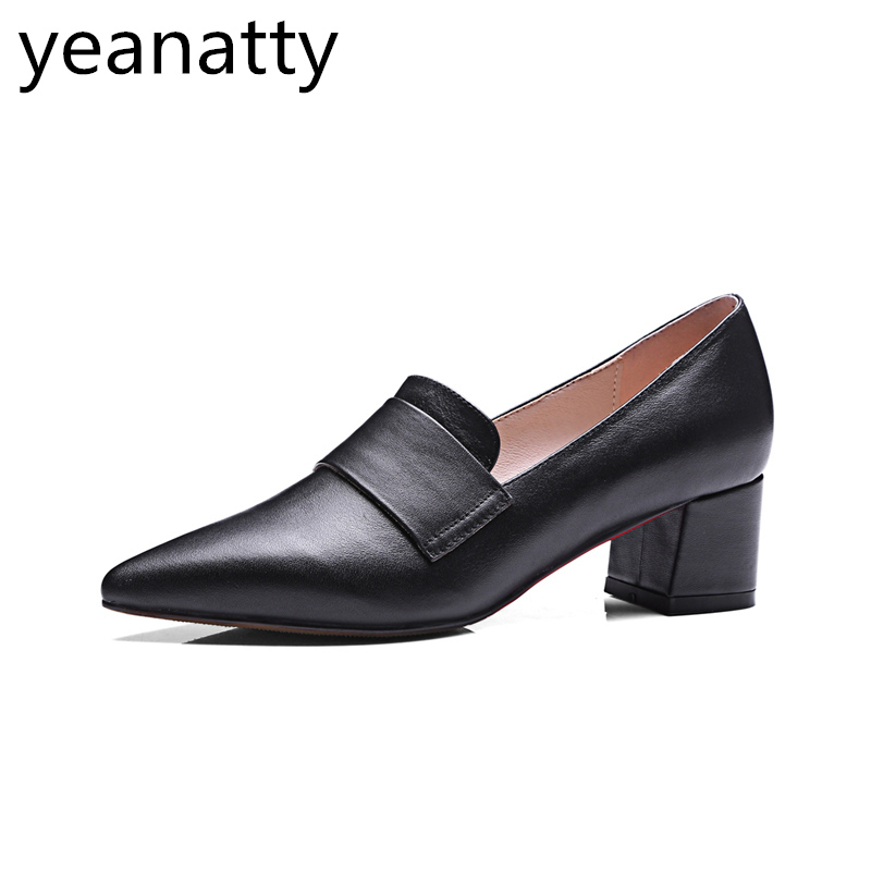 6cm Slip-on Shoes Women spring autumn vintage ladies genuine Leather Handmade Retro pointed Toe pumps  Med Heels thick heel 43