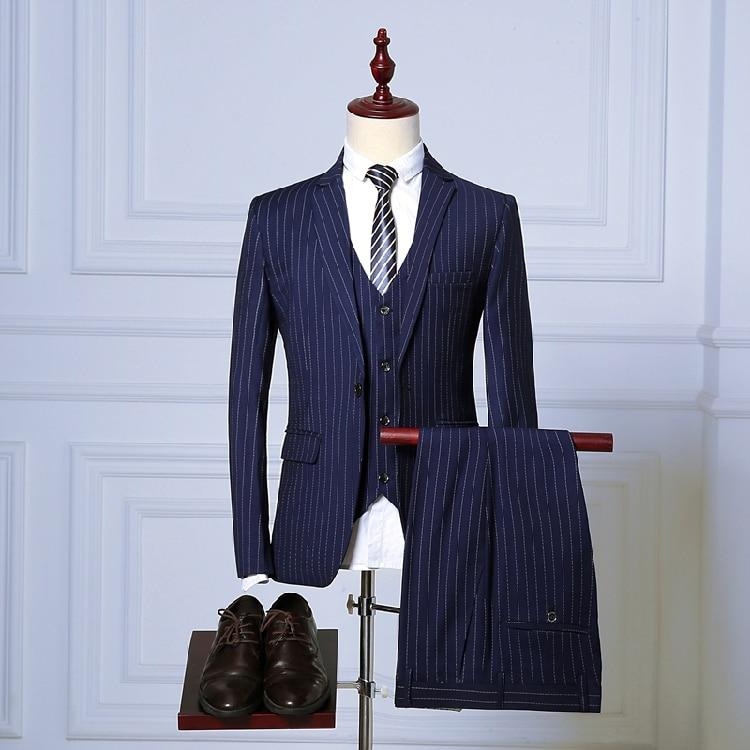 (Jacket+Pant+Vest) Men Business Suits Classic One Button Slim Fit Single Button 2018 New Brand Male Stripe Suit Navy Blue Black delem da 56 brand new button membrane