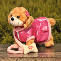 about 30cm Electric dog toy with leash, beautiful cloth brown dog plush toy ,video records ,birthday gift w8887