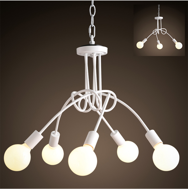 Mordern Nordic Retro White/Black Matte Painting Light Chandelier Vintage Loft E27 luminaire lamparas Ceiling Lamp Fixture Light mordern nordic retro edison bulb light chandelier vintage loft antique adjustable diy e27 art spider ceiling lamp fixture lights
