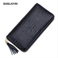New Fashion Crocodile Women Wallets Genuine Leather Long Female Purse Designer Brand Clutch Lady Party Wallet Female Card Holder